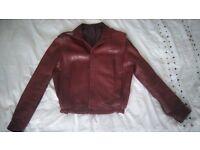 Mens 80's Retro Leather Bomber Jacket - Size Medium