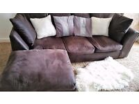 LUSH LEFT OR RIGHT HANDED BROWN CORNER SOFA FOR SALE.