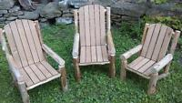 3 child size rustic patio chairs