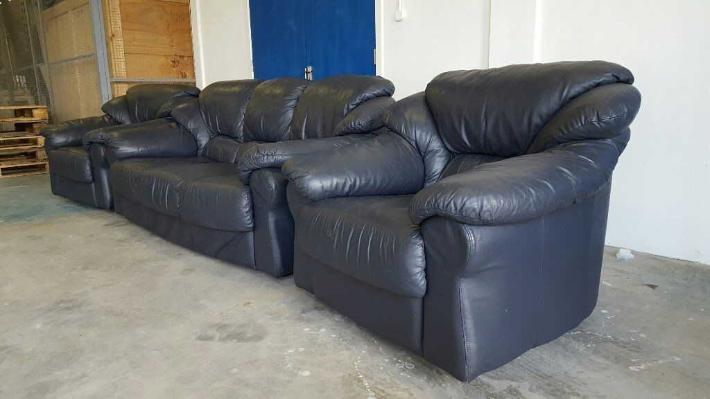 DARK BLUE REAL LEATHER SET 3 SEATER SOFA / SETTEE / SUITE & 2 CHAIRS /