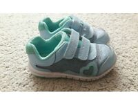 Clarks First Shoes blue sparkly trainers size 5F