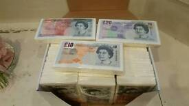 Joblot set of 36 pack of Money £10, £20 & £50 Pound paper party fun napkins