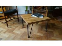 Solid Oak Top Coffee Table with Industrial Steel Hairpin Legs. Delivery Available. (55.5 x 49 x 39)
