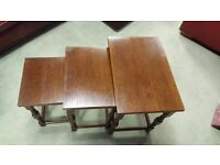 Dark Oak Nest of Three Tables in Excellent Condition