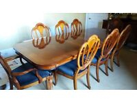 Regency high lacquered inlaid Double Pedestal Dinning Table & 8 Chairs (inc 2 Carver Chairs)