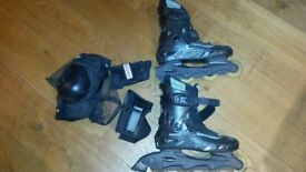 Inline roller blades, knee & wrist pads - size 6/7 - Hardly used