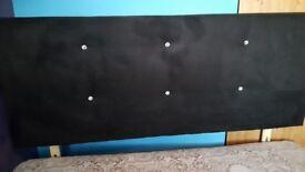 Brushed velvet black and diamante detail double headboard