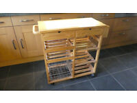 Wooden butchers block / kitchen trolley / table / island storage
