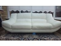 White soft Italian grade leather Sofa for sale - excellent condition