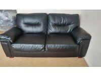 2 x 3 seater Black Faux leather sofas