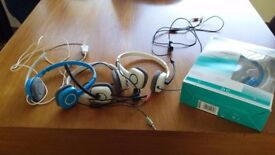 4 PAIR X Logitech H150 Headphones blue/white- Only £20 for All 4! NO OFFERS