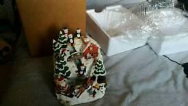Christmas ornament penguin music waterfull
