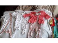 24 USED Baby Girls Bundle Job Lot Of Sleep suits Bodysuits babygrow 0-3m 3-6m