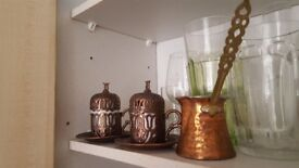 Turkish coffee pot and cups (brass)