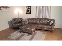Ex-display Balmoral grey/golden fabric 4 seater sofa, armchair and footstool