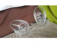 PEAR TEARDROP SHAPED HEAVY CLEAR GLASS DESSERT DISH X 4