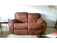 2 AND 3 SEATER RECLYNER SOFA, LIGHT BROWN, FAUX SUEDE