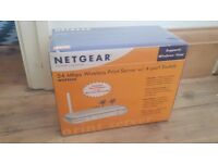 54 Mbps NetGear Wireless Print Server with 4 Port Switch WGPS606 BNIB Brand New In Box