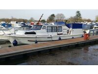 BROOM 37 BROADS WIDE BEAM CRUISER BOAT +LEISURE MOORING, IDEAL PIED-A-TERRE OR FANTASTIC LIVEABOARD
