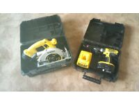 Well looked after Dewalt cordless 18v tools set, DRILL/CIRC. SAW, NEW BAT, see photos & details