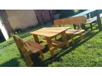 garden real wooden handmade table and 2 bench 200/80