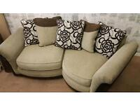 Beige brown cuddle sofa. Delivery available