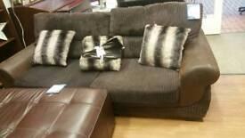 3 seat brown cord sofa