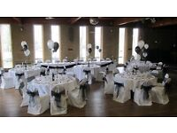 Wedding items,table cloths,chair covers trees organza bows all colours