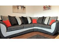 Large Charcoal and Grey Pillowback Corner Suite and Swivel Chair to Match. Excellent Condition.
