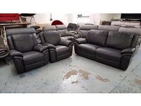 New Ex Display ScS Leo Black Leather 3 Seater Sofa & 2 Armchairs **CAN DELIVER**