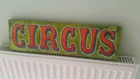 Hand Painted Wooden Circus Sign