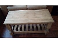 Solid pine rustic coffee table with shelf