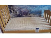 Mamas & Papas Cot Bed with side rails (not pictured) includes free Mattress (wooden)