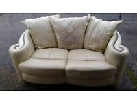 2 seater cream leather sofa for sale