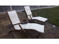 Two dark wood and cream high quality folding sun loungers