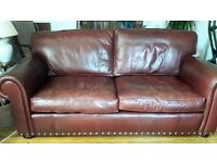 SOFA - Wade - 3 seater leather sofa - colour ox blood/brown - very good condition