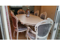 French Shabby Chic louis italian dining table and 6 chairs