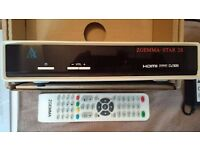 white Zgemma s2 satellite receiver sky box with all channels for 1 year (pause/rewind/record)