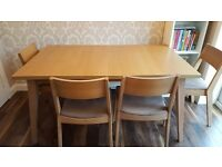 150cm x 90cm table & 4 suede effect chairs. Table extends to 180cm.