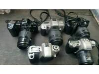 5 different 35mm camera Minolta Pentax and canon Not tested 4 are with auto focus lens canon s