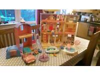 Vintage Fisher price loving family dolls house and accessories bundle