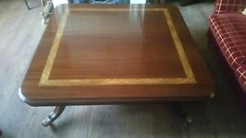 LARGE SOLID MAHOGANY INLAID COFFEE TABLE BY CHARLES BARR