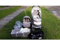 Graco Travel System Pushchair, car seat, car seat base, carrycot and rain cover