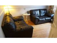Two Seater Sofa's Brown Leather x 2.