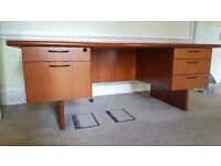 Large office desk / table - wooden with 2 sets of drawers/pedestals