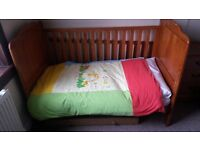 Cotbed with pull out drawer, change table attachment and bedding (Reduced Price)