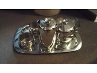 Vintage Old Hall Stainless Steel Tea Set with tray
