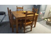Pine dining table with 4 chairs