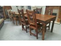 Solid Indian mango wood table & 4 high back chairs can deliver 07808222995