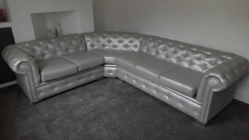 5 Seater Chesterfield Leather Corner Sofa Any Colour
